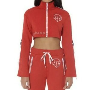 NWT LF the Brand Logo Spell Out Crop Track Jacket